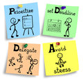 Time management concept illustration on a colorful notes.