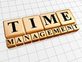 Time management in golden cubes Royalty Free Stock Photos