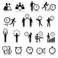 Time management icons set business man with clock vector illustration Stock Photos