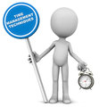 Time management techniques concept a little d man holding banner in one hand and an alarm clock in another clean white background Royalty Free Stock Images