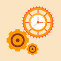 Time mechanisms gears red color Stock Photo