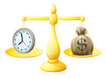 Time money balance scales concept illustration with a clock on one side and a sack of with a dollar sign on the other Stock Images