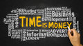 Time is money with business word cloud handwritten on blackboard Royalty Free Stock Photo