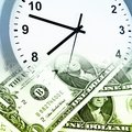 Time is money concept clock and banknotes Royalty Free Stock Photos