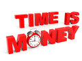 Time is money d text with clock Royalty Free Stock Photography