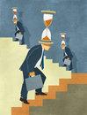 Time is money endless competition illustration of businessman in suit climbing stairs with hourglass on his head metaphor for the Stock Image