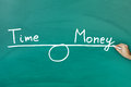 Time and money equilibrium on green blackboard Royalty Free Stock Photography