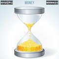 Time is Money. Gold Coins Flowing Inside Hourglass