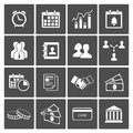 Time money icons set handshake deal staff calendar Royalty Free Stock Photos