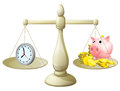 Time money scales Stock Image