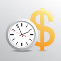 Time is money vectorial background with hours and dollar Royalty Free Stock Photos