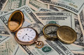 Time is money watch and compass investing for retirement future plans this conceptual photo illustrates savings direction Royalty Free Stock Photo