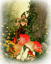 Time for music d cg computer graphics of a forest fairy with a flute sitting on a toadstool Stock Images