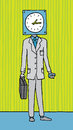 Time obsessed business timing cartoon businessman with Stock Images