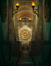Time passage d cg a computer graphics of a with torches and clock on the wall Stock Photo