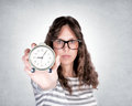 Time is passing selective focus on the clock in female hand Stock Photos