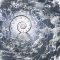 Time and quantum physics spiral particles Stock Photo