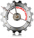 Time for questions metallic gear metal clock shaped with written on a white background Royalty Free Stock Images