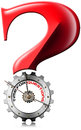 Time for questions question mark metallic gear red with metal clock shaped with written on a white background Stock Image