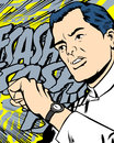 Time is running fast comic book style illustrated man checking his watch with comic book word on the background which illustrates Royalty Free Stock Image