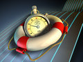 Time saving a stopwatch held in a lifesaver concept image digital illustration Stock Image