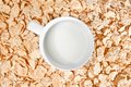 Time to breakfast with milk and corn flakes top of view of cup of on background concept Stock Image