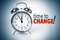 Time to change clock with words Stock Images