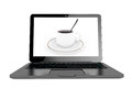Time to coffee break concept modern laptop with cup of coffee o on the screen on a white background Stock Photography