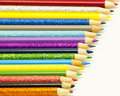 Time to colour pencil crayons ready used create some art Royalty Free Stock Images