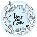 Time to Cook Lettering Hand drawn illustration