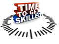 Time to get skilled words in a clock dial on a clean white floor background concept of enhancing working skills for better job and Stock Image