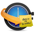 Time to go back to school post an clock illustration design Stock Images