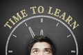Time to learn man with concept on the blackboard background Royalty Free Stock Images