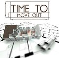 Time to move out with project of house on blueprints Royalty Free Stock Images