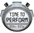 Time to perform stopwatch timer clock action needed words on a or illustrate now is the moment take and implement or execute a Stock Photos