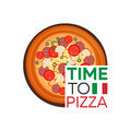 Time to pizza. Watch. Fast food. Vector flat illustration.