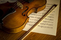 Time to practice violin with sheet music on vintage style Royalty Free Stock Images