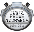 Time to prove yourself stopwatch timer words performance on a or as a test show your skills and abilities in a race or other Stock Photography