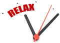 Time to relax clock hand pointing the word Stock Image