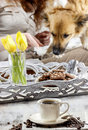 Time to relax cup of coffee on the table young woman playing with dog in background Stock Photo