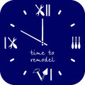 Time to remodeling home. Watch dial is a tools for repairing in blue. Professional remodel services logo.