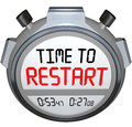 Time to restart stopwatch timer redo refresh reinvent on a or timers illustrate a rebuild renew revitalization or reinvention of Stock Image