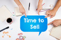 Time to Sell. The meeting at the white office table. Royalty Free Stock Photo