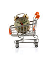 Time to shop an alarm clock in your shopping cart clipping pack Stock Photo
