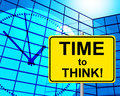Time to think indicates at the moment and concept showing now Stock Photos