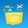 Time to travel, summer vacation, Vector flat background and objects illustrations badges tamplate Royalty Free Stock Photo