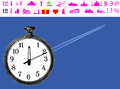 Time to travel to start of watch clock with empty space hovers for the destination icon the famous world landmarks gift valentine Stock Photos