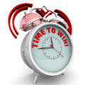 Time to win! The alarm clock with an inscription Royalty Free Stock Photo