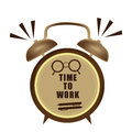 Time to work clock a brown indicating it is in white background Royalty Free Stock Images