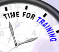 Time for training message showing coaching and instructing shows Stock Image